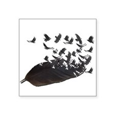 "Flying Crow Feather Square Sticker 3"" x 3"""