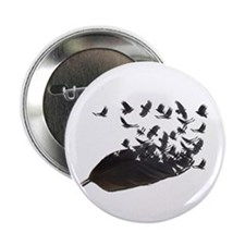 """Flying Crow Feather 2.25"""" Button"""