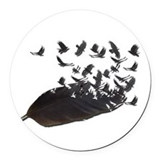 Flying Crow Feather Round Car Magnet
