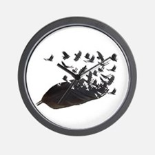 Flying Crow Feather Wall Clock