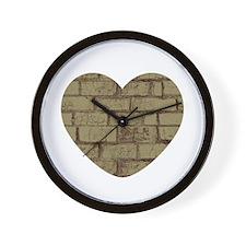 Gold Brick Heart Wall Clock