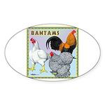 Bantam Chickens Oval Sticker