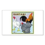 Bantam Chickens Rectangle Sticker