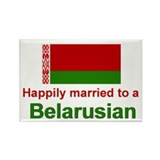 Happily Married To A Belarusian Rectangle Magnet