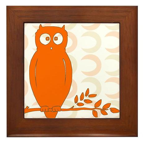 Owl on Branch Framed Tile