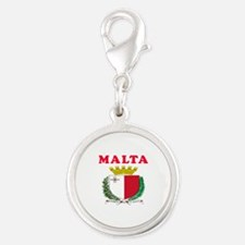 Malta Coat Of Arms Designs Silver Round Charm