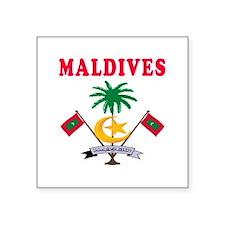 """Maldives Coat Of Arms Designs Square Sticker 3"""" x"""