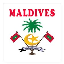 "Maldives Coat Of Arms Designs Square Car Magnet 3"""