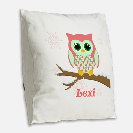Custom name winter owl girl Burlap Throw Pillow
