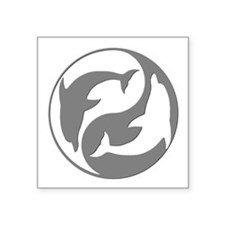 Grey And White Yin Yang Dolphins Sticker