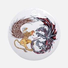 Griffin Fighting Dragon Ornament (Round)