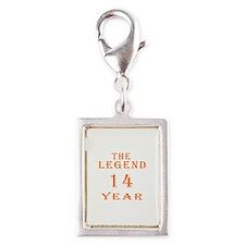 14 year birthday designs Silver Portrait Charm