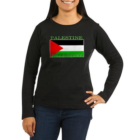 Palestine Flag Womens Long Sleeve Black Shirt