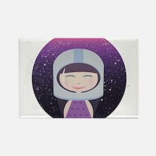 Vintage Astronaut Girl Rectangle Magnet