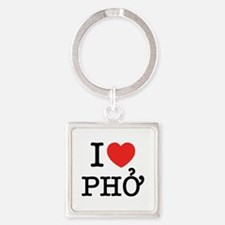 I Love (Heart) Pho Square Keychain