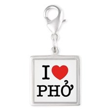 I Love (Heart) Pho Silver Square Charm