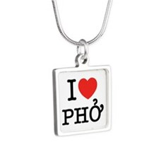 I Love (Heart) Pho Silver Square Necklace