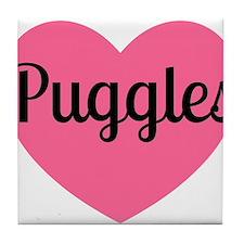 Puggle Heart Pink Tile Coaster