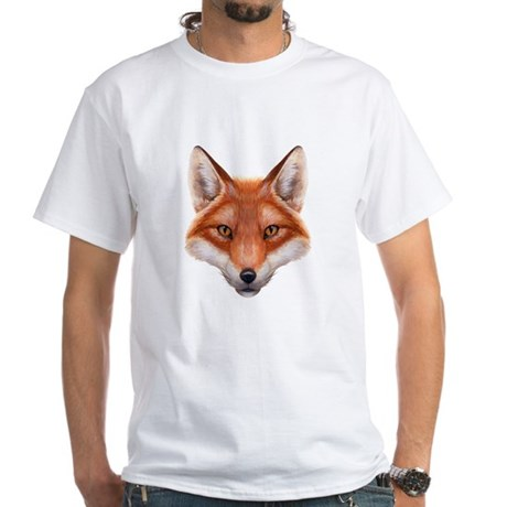 Red Fox Face White T-Shirt