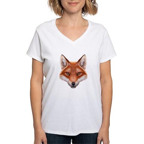 Red Fox Face Women's V-Neck T-Shirt