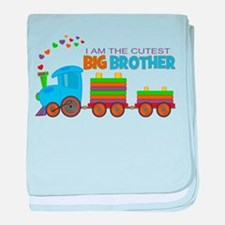 I am the Cutest Big Brother - Train baby blanket