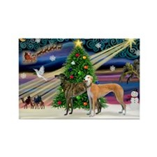 XmasMagic/2Greyhounds Rectangle Magnet