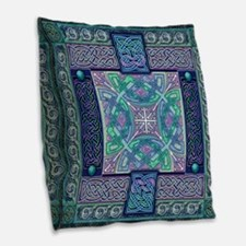 Celtic Atlantis Opal Burlap Throw Pillow