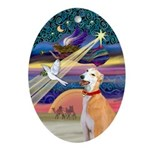 Xmas Star & Red Fawn Greyhound Oval Ornament