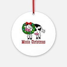 Xmas Cow Ornament (Round)