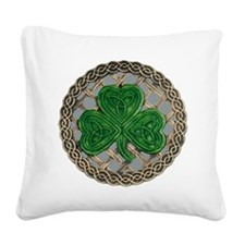 Shamrock And Celtic Knots Square Canvas Pillow