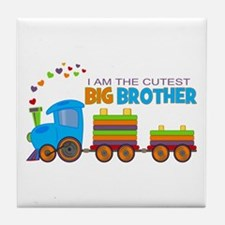 I am the Cutest Big Brother - Train Tile Coaster