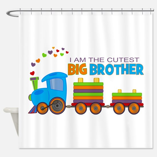 I am the Cutest Big Brother - Train Shower Curtain