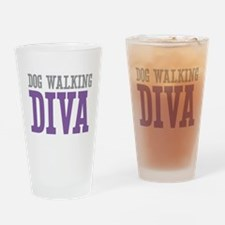 Dog Walking DIVA Drinking Glass