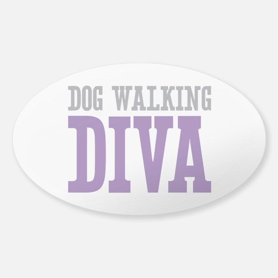 Dog Walking DIVA Sticker (Oval)