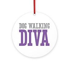 Dog Walking DIVA Ornament (Round)