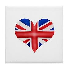 British Flag Heart Tile Coaster