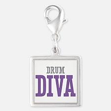 Drum DIVA Silver Square Charm