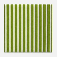 Chartreuse Skinny Stripes Tile Coaster