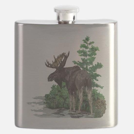 Bull moose art Flask