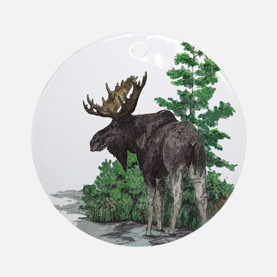 Bull moose art Ornament (Round)
