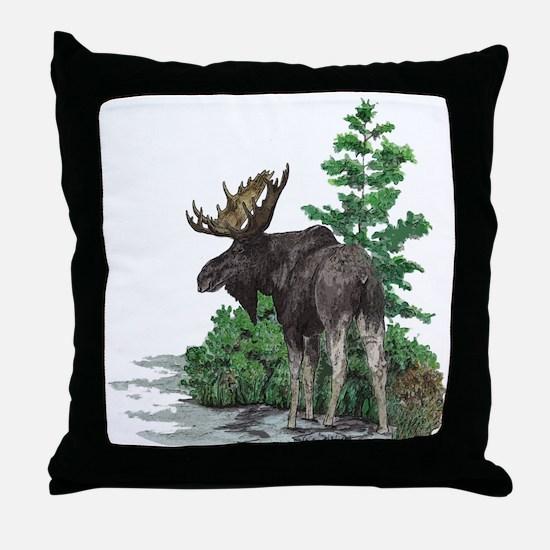 Bull moose art Throw Pillow