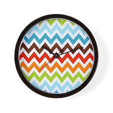 Summer Cool Chevron Stripes Wall Clock