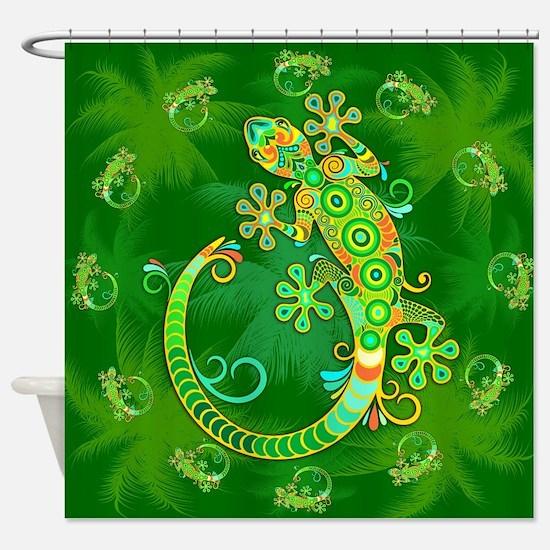 Gecko Lizard Tattoo Style Shower Curtain