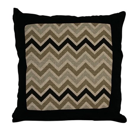 Burlap brown Zigzags Throw Pillow