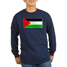 Palestinian Blank Flag Long Sleeve Blue T-Shirt