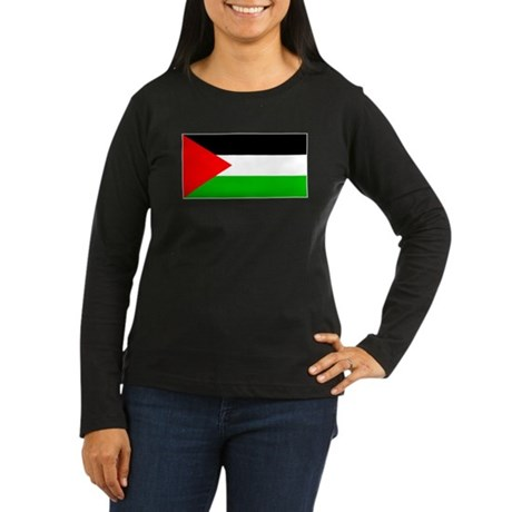 Palestinian Blank Flag Women Sleeved Brown T-Shirt