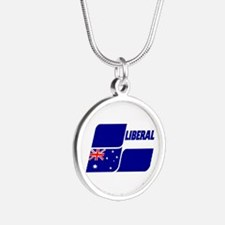 Liberal Party Logo Silver Round Necklace