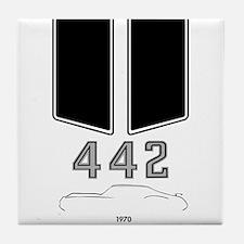 Olds 442 silhouette, logo & stripes Tile Coa