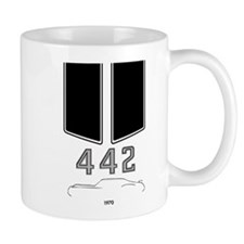 Olds 442 silhouette with logo and stripes Mug