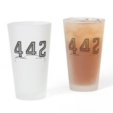 Cutlass Silhouette - 442 logo up Drinking Glass